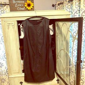 Zara Trafaluc Black Vegan Leather Shift Dress